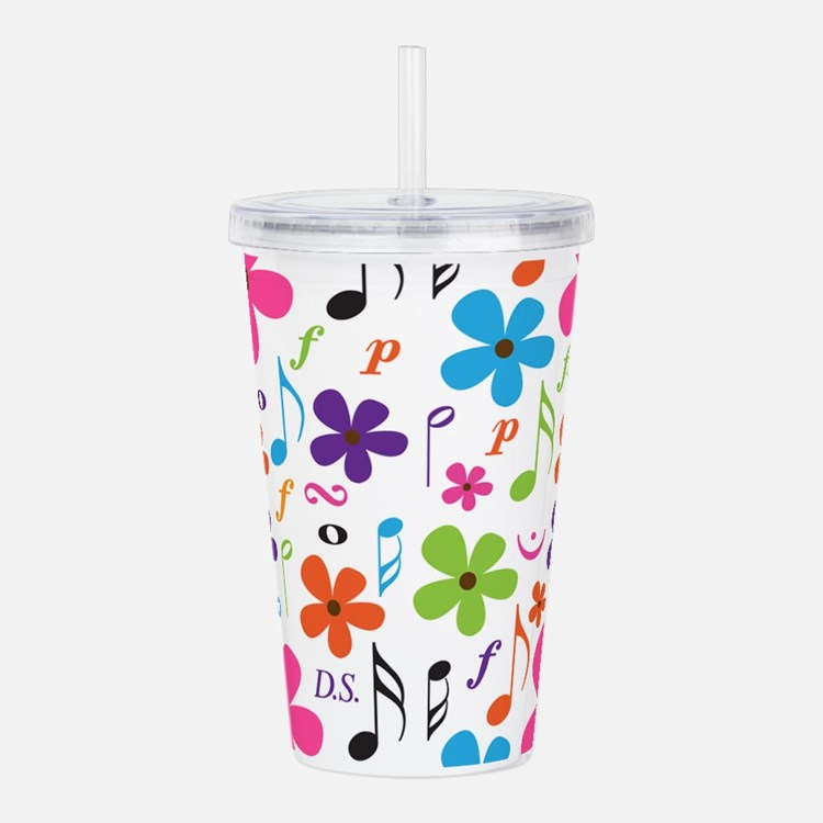 Music Flowered Design Acrylic Double-wall Tumbler