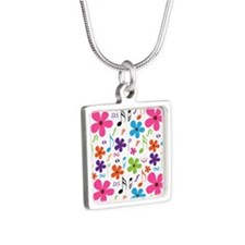Music Flowered Design Silver Square Necklace