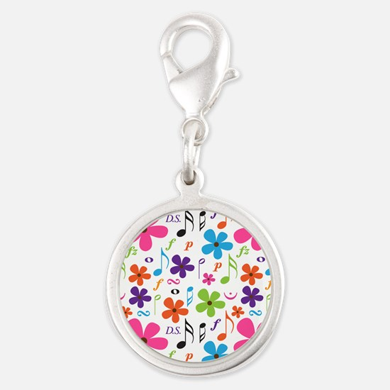 Music Flowered Design Silver Round Charm