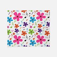 Music Flowered Design Throw Blanket
