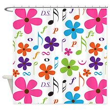 Music Flowered Design Shower Curtain