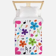 Music Flowered Design Twin Duvet
