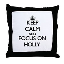 Cute Holly leaves Throw Pillow