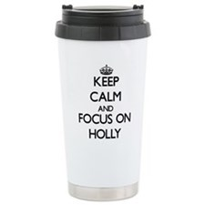 Cute Holly leaves Travel Mug