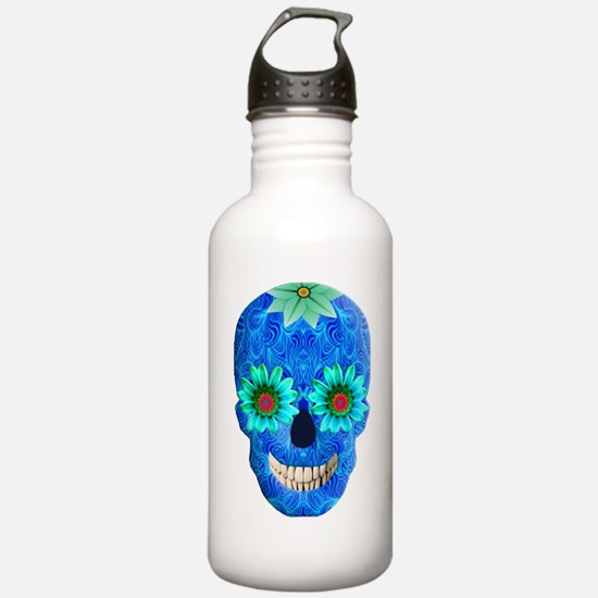 Blue Day Of The Dead Skull Water Bottle