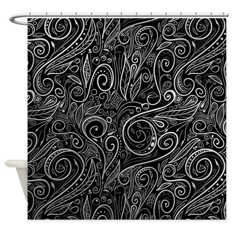 Black Silver Damasks Shower Curtain By Elegantandfashionable