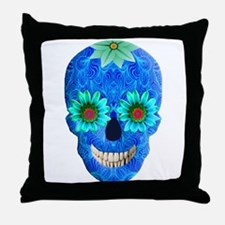 Blue Day Of The Dead Skull Throw Pillow