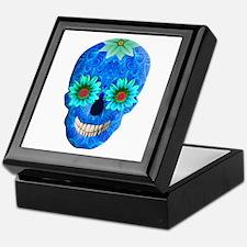Blue Day Of The Dead Skull Keepsake Box