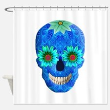 Blue Day Of The Dead Skull Shower Curtain