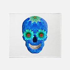 Blue Day Of The Dead Skull Throw Blanket