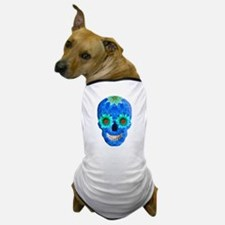 Blue Day Of The Dead Skull Dog T-Shirt