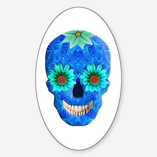 Blue Day Of The Dead Skull Decal