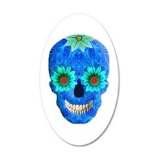 Blue Day Of The Dead Skull Wall Decal