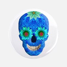 """Blue Day Of The Dead Skull 3.5"""" Button"""