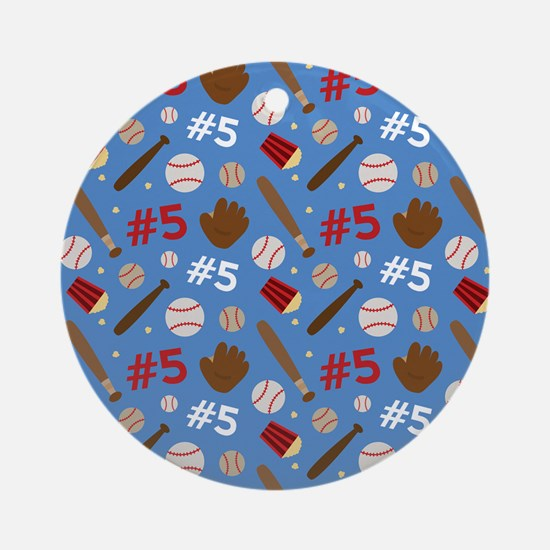 Baseball Player 5 Sports Ornament (Round)