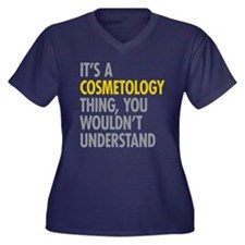 Its A Cosmet Women's Plus Size V-Neck Dark T-Shirt
