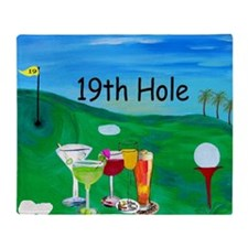 19th Hole Golf Bar Throw Blanket