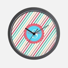 Mod Stripes Personalized Wall Clock