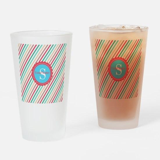 Mod Stripes Personalized Drinking Glass