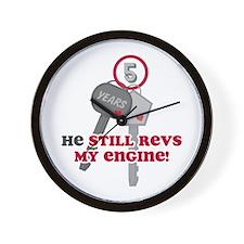 He Revs My Engine 5 Wall Clock