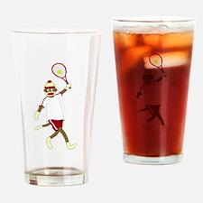 Sock Monkey Tennis Drinking Glass