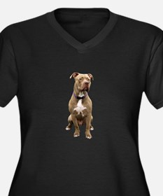 Pit Bull #1 Women's Plus Size V-Neck Dark T-Shirt