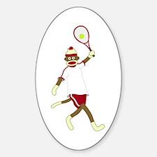 Sock Monkey Tennis Sticker (Oval)