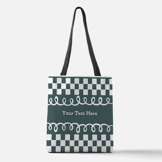 Custom Text Decorative Checkere Polyester Tote Bag
