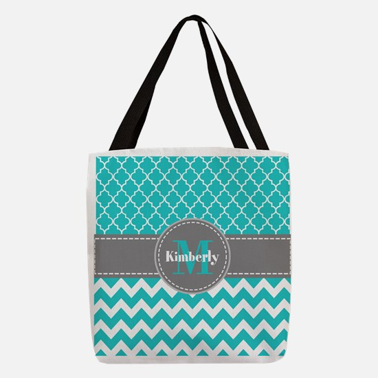 Gray and Blue Chevron Personali Polyester Tote Bag