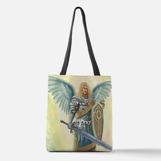 Saint Archangel Michael Polyester Tote Bag