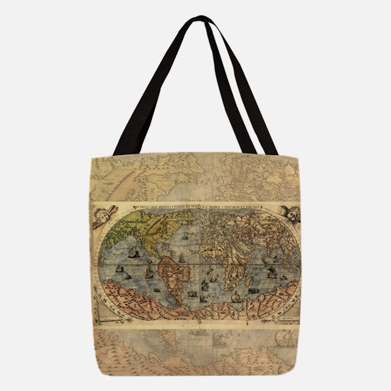 World Map Vintage Atlas Histori Polyester Tote Bag