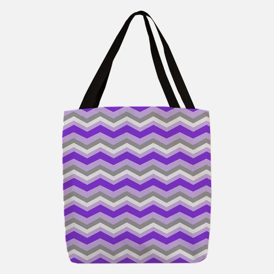 purple gray chevron Polyester Tote Bag