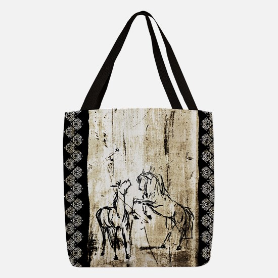 Rustic Equine Art Rearing Horse Polyester Tote Bag