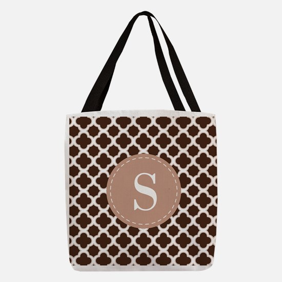Quatrefoil Pattern Brown and Wh Polyester Tote Bag