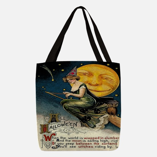 Vintage Halloween Witch Broom F Polyester Tote Bag