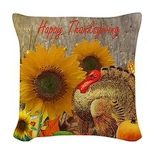 Thanksgiving Art Woven Throw Pillow