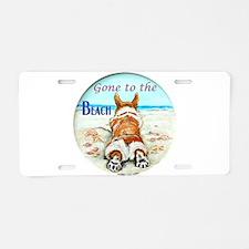 Corgi Beach Aluminum License Plate