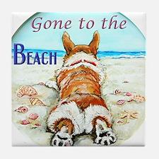 Corgi Beach Tile Coaster