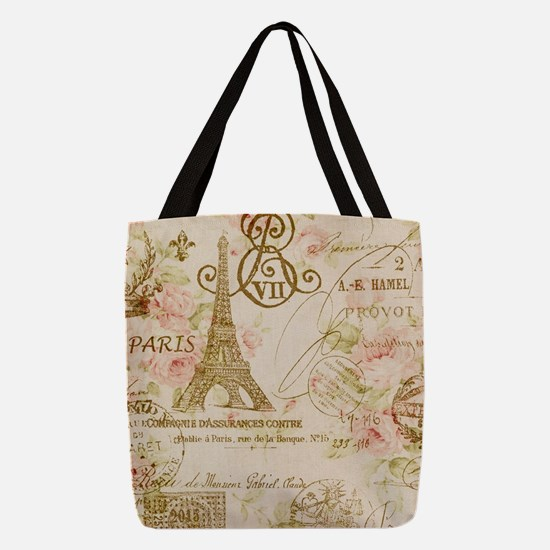 floral paris eiffel tower roses Polyester Tote Bag