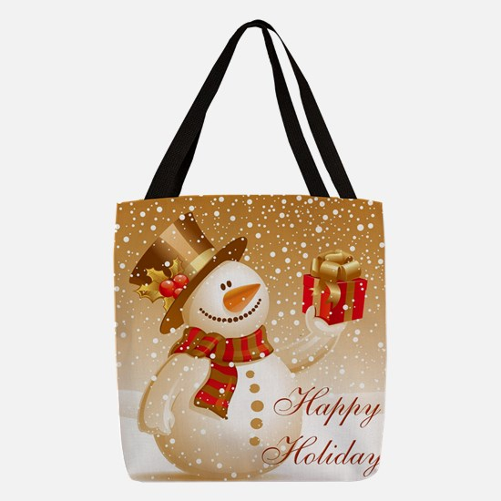Happy Holidays Golden Snowman Polyester Tote Bag