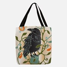 Celtic Crow Polyester Tote Bag