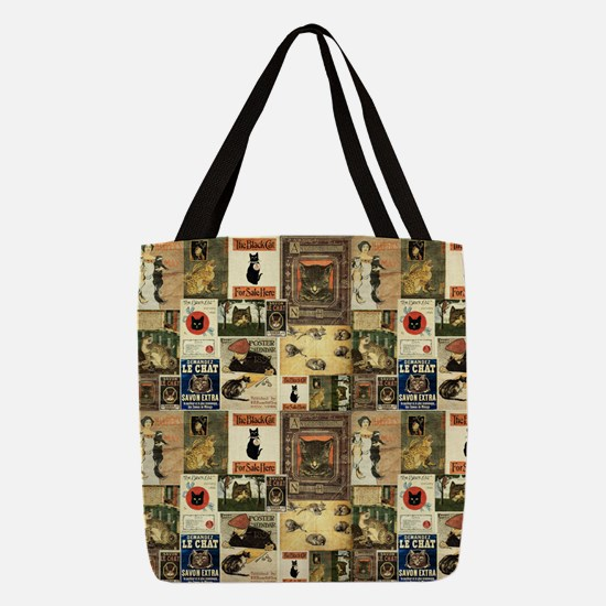 Vintage Cats Polyester Tote Bag