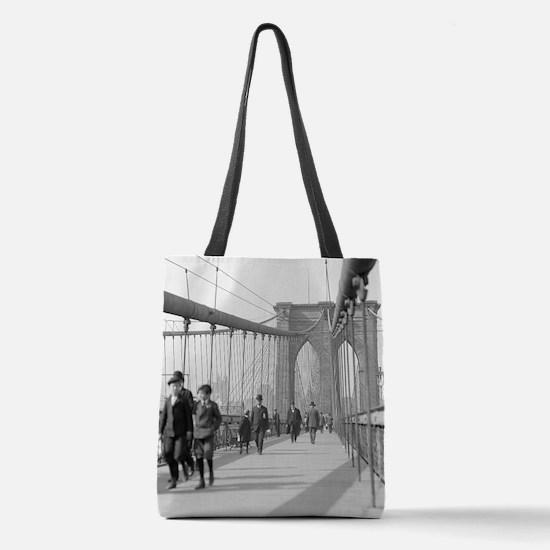 Brooklyn Bridge Pedestrians Polyester Tote Bag