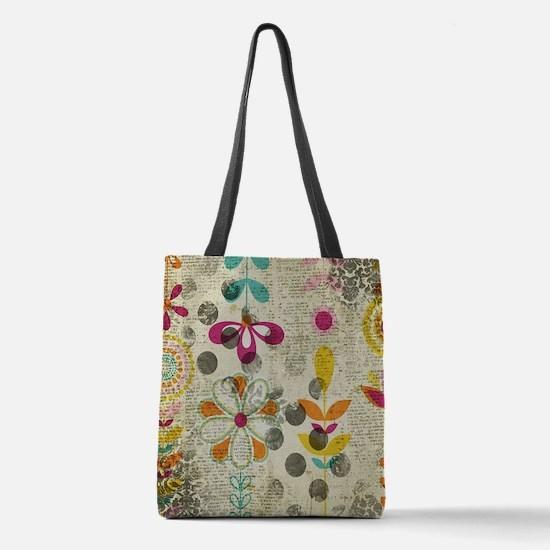 Bohemian Boho Flowers Polyester Tote Bag