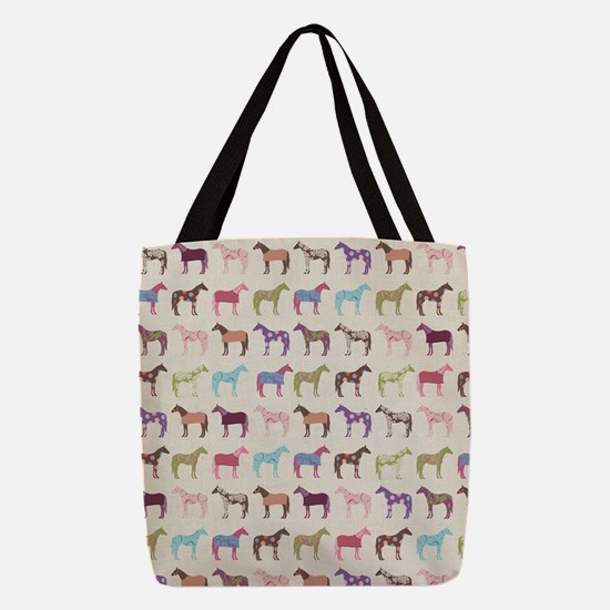 Colorful Horse Pattern Polyester Tote Bag
