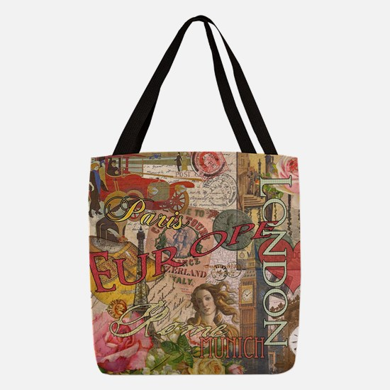 European Travel Vintage London  Polyester Tote Bag