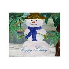 Tropical Snowman art Throw Blanket
