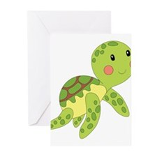 Baby Floating Turtle Greeting Cards
