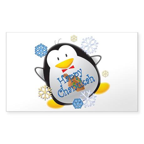 Penguin Chanukah Sticker (Rectangle)