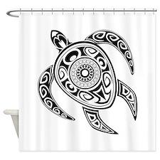 Black Hawaiian Turtle-2 Shower Curtain